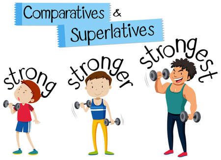 Comparatives and Superlatives strong illustration 免版税图像 - 100174800