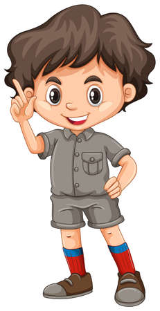 A Cute Boy Scout on White Background illustration Ilustração