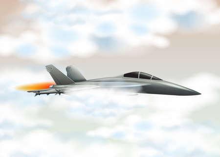 Fighting jet flying in the sky illustration Illustration