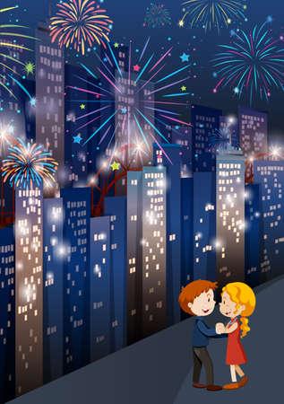 A Happy Couple walking in a city scene illustration