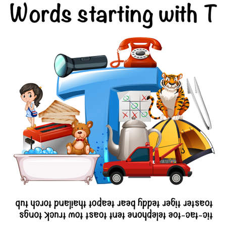 English words starting with T illustration Illustration