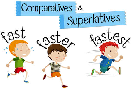 Comparatives and superlatives word for fast illustration Stock Illustratie