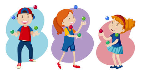 Kid are Playing colourful Juggling illustration Foto de archivo - 100161392