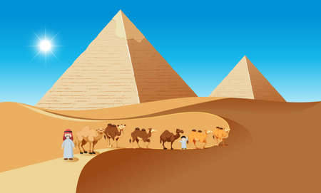 Desert scene with camels and people illustration