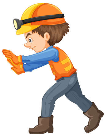 A Construction Worker on White Background illustration Illustration