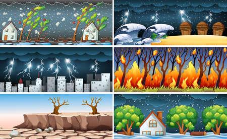 Ilustración de desastre natural