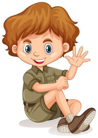 Happy boy waving hand on white background illustration