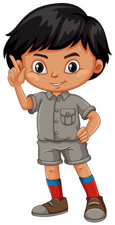 A Boy standing in a safari outfit illustration Illustration
