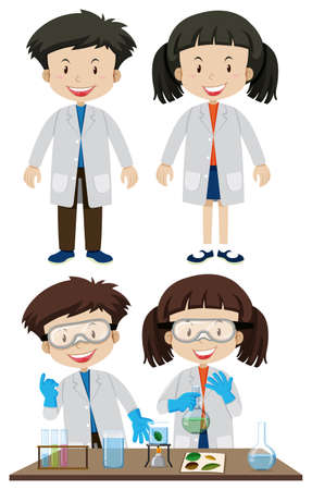 Scientists wearing white coats illustration