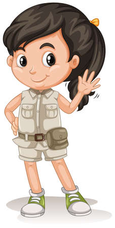 A Cute Girl Scout on White Background illustration