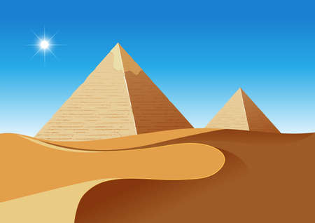 A desert scence with pyramids illustration 向量圖像