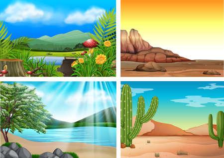 Ilustración de cuatro paisajes y naturaleza diferentes
