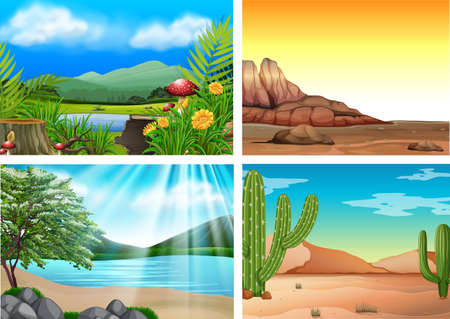 Vier verschillende landschap en natuur illustratie