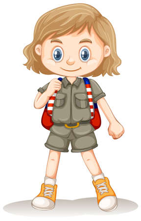 A Cute Zoo Keeper on White Background illustration  イラスト・ベクター素材