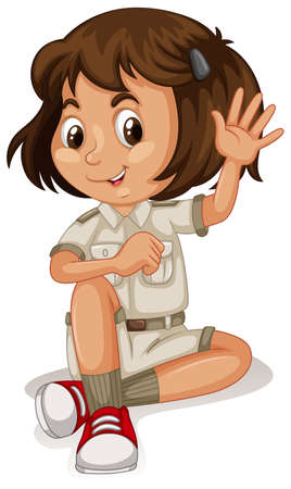 A Cute Zoo Keeper on White Background Vector illustration.