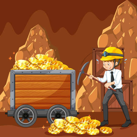 An Office Worker Mining Cyber Coin Vector illustration.