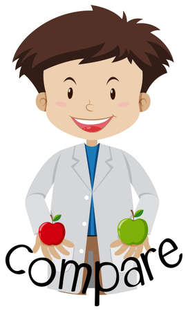 A Scientist Compare Between two Apples illustration Vectores