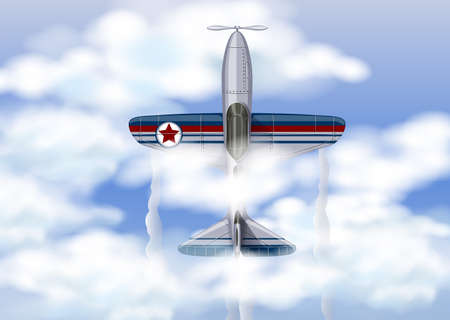 Military Aircraft in the Sky Vector illustration. Illustration