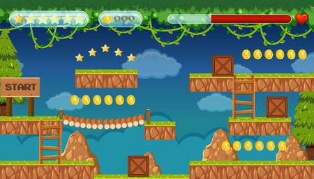 A Jungle Jumping Game Template illustration Vectores