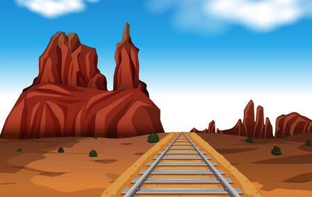 Rock Mountain in Desert Scene Vector illustration.