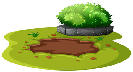 Mud Pond in the Garden Vector illustration. Ilustrace