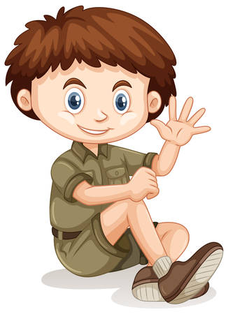 A Safari Boy on White Background illustration