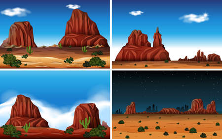Rock Mountain and Desert Scene illustration