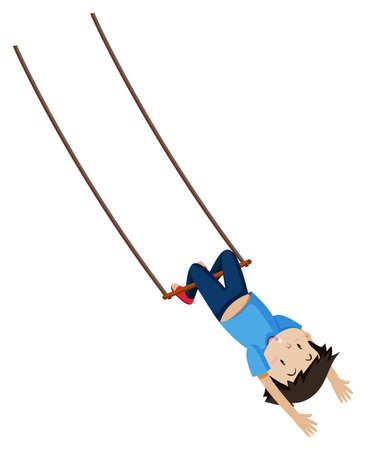 Un ragazzo sull'illustrazione di vettore dell'oscillazione del trapezio. Vettoriali