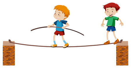 Tightrope Walker on White Background illustration Illustration
