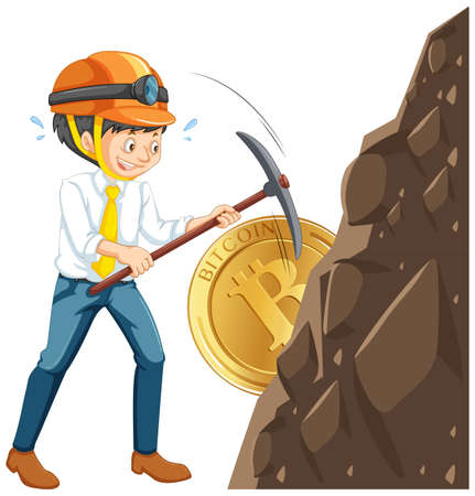 A Worker Mining Cyber Coin Vector illustration.