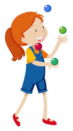 A Girl Juggling on White Background illustration