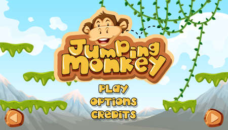 Jumping Monkey Starting Main Template illustration Vectores