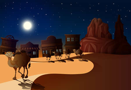 Desert Scene at Night with Camels illustration