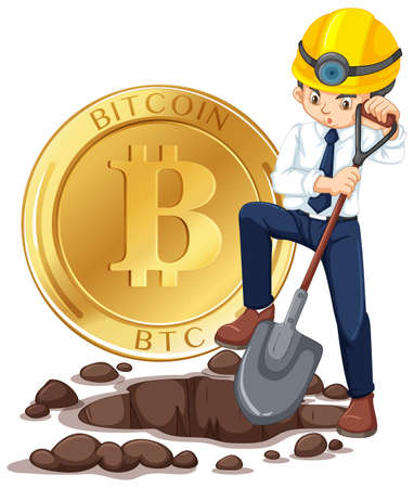 Cyber Coin Mining and Worker illustration
