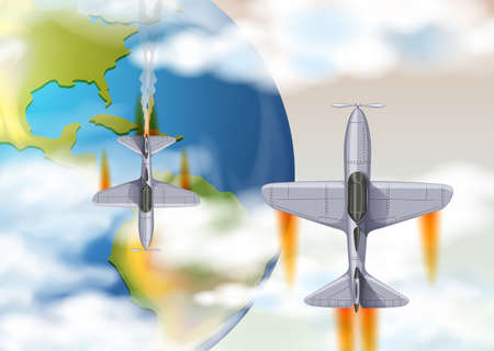 Airplane Above the Earth Top View illustration Illustration