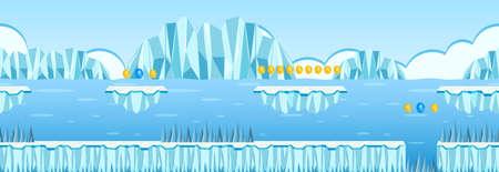 Coin Collecting Game Iceberg Scene illustration