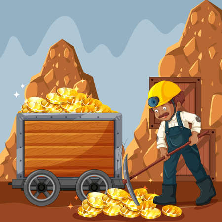 Cyber Coin Mining and Worker Vector illustration. Illustration