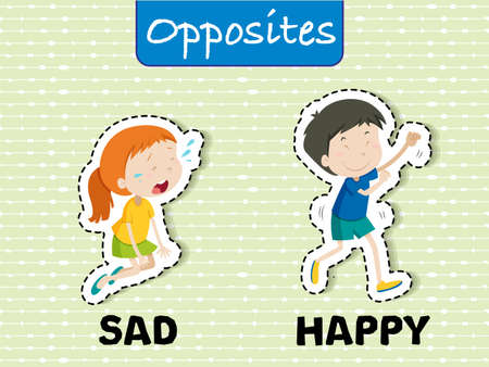 English Opposites Word Sad and Happy illustration