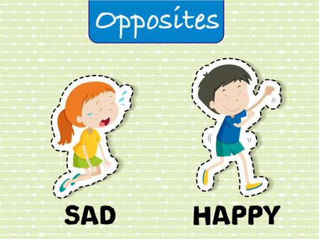 English Opposites Word Sad and Happy illustration