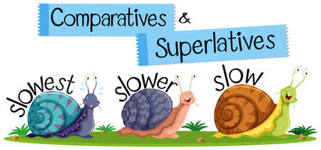 Comparative and Superlative English Words illustration Ilustrace