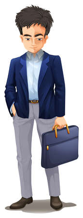 A Dull Businessman on White Background illustration Illustration