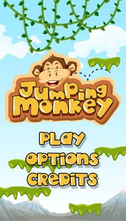 Jumping Monkey Starting Main Template illustration Illustration