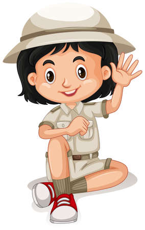 A Cute Zoo Keeper on White Background illustration 矢量图像