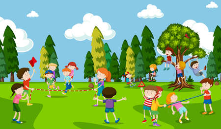 Students are Playing at Playground illustration Stock Illustratie