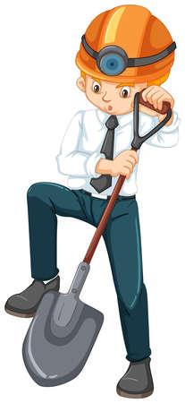 Un trabajador de oficina de minería en la ilustración de fondo blanco