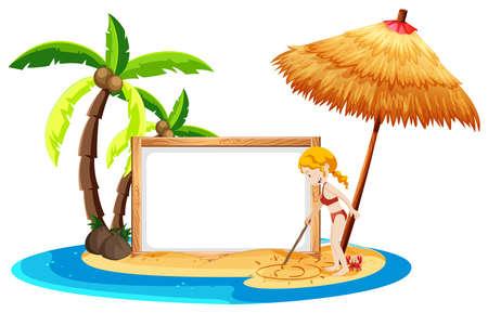 A Beach Blank Banner with Bikini Girl illustration