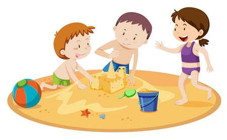 Bambini che costruiscono il castello della sabbia sull'illustrazione bianca del fondo