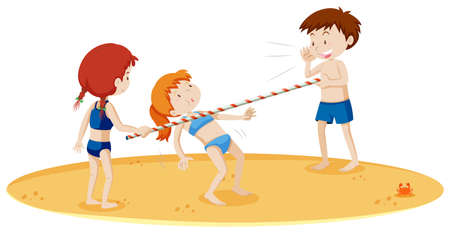 Teenagers Doing Limbo Dance at the Beach illustration