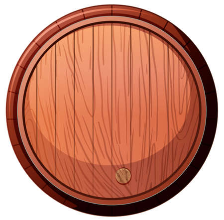 Front of Wine Oak Barrel on White Background illustration