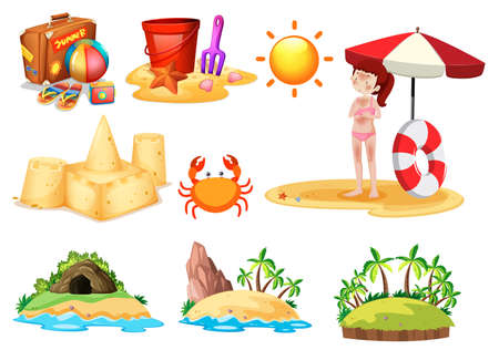 A Set of Beach Element illustration Stock Illustratie